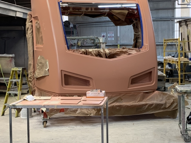 Front-end mask of the cab car in production April 2019