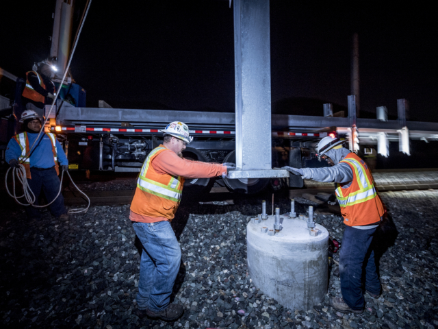 Caltrain Electrification Pole Installation