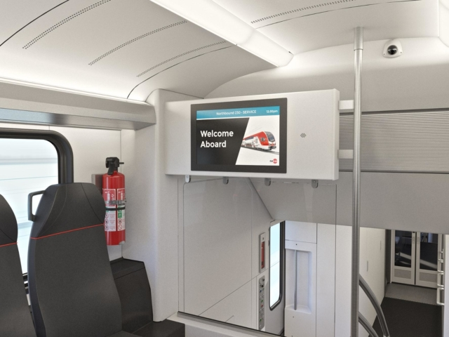 Electric train interior sign rendering