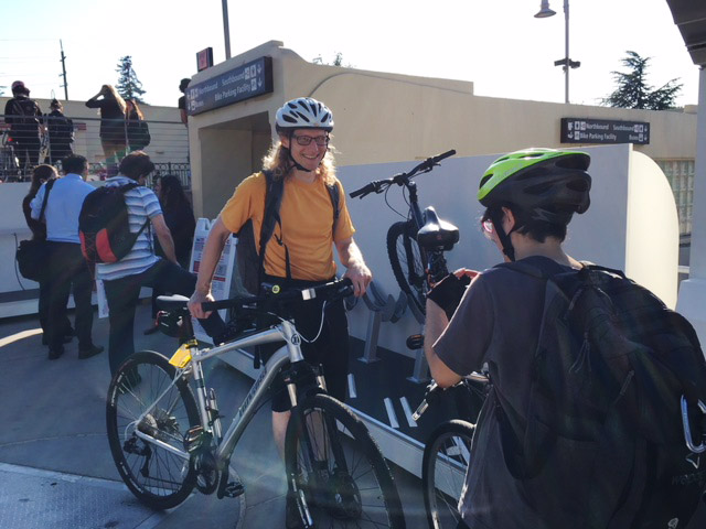 Trying out the bike storage samples at Palo Alto Station