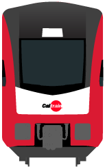 Illustrated front of new electric train with alert icon