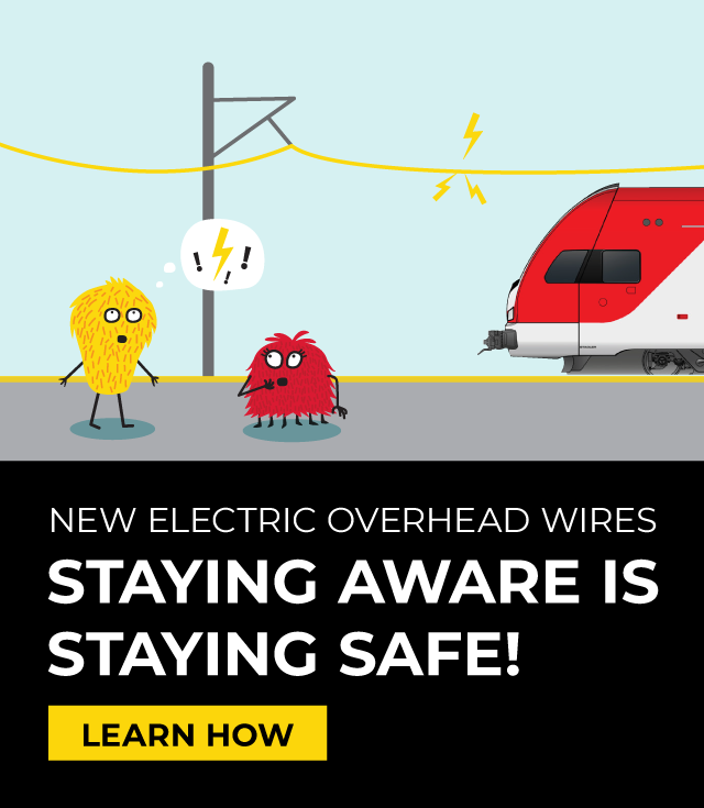CalMod New Electric Overhead Lines Safety Campaign, Construction, Electric Trains, Caltrain Electrification